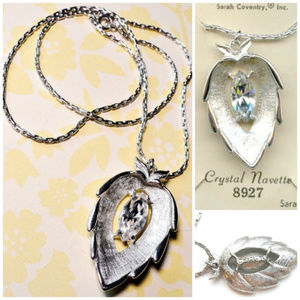 Sarah Coventry Crystal Leaf Necklace Silver Tone